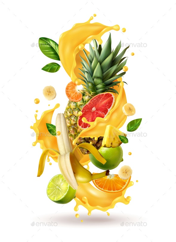 Tropical Cocktail Burst Composition - Food Objects