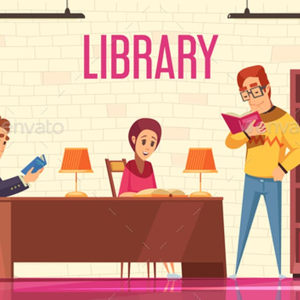 People Reading Books Background