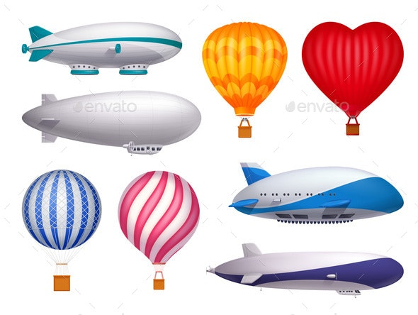 Dirigible and Balloons Realistic Set - Miscellaneous Vectors