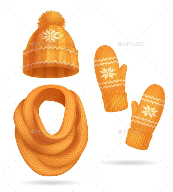 Winter Yellow Knitted Clothes Set - Miscellaneous Vectors