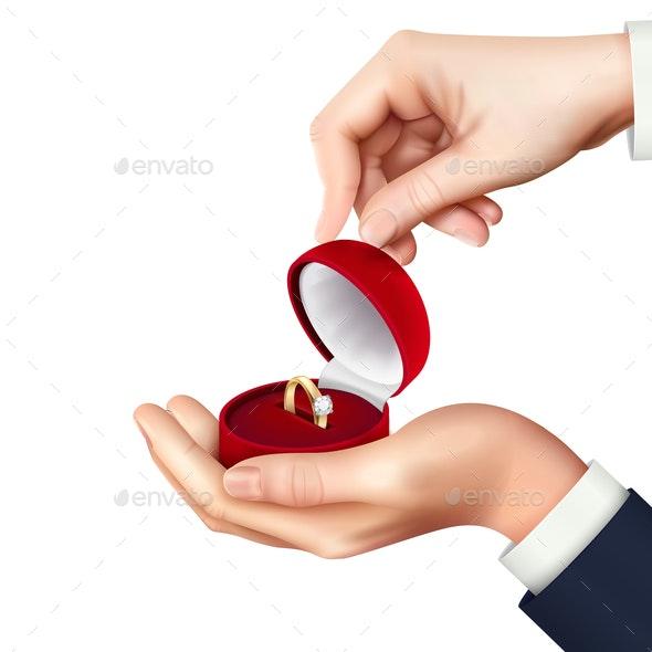Jewelry Box Hand Realistic - Miscellaneous Vectors