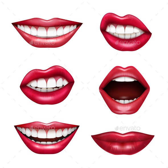 Mouth Expressions Realistic Set - Miscellaneous Vectors