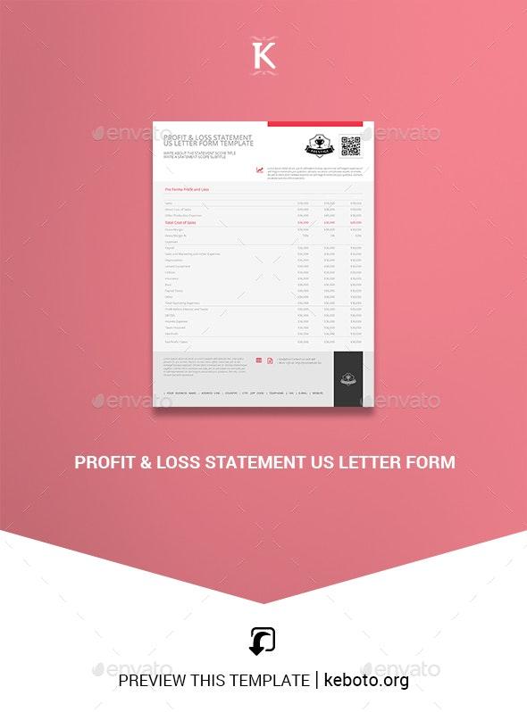 Profit & Loss Statement US Letter Form - Miscellaneous Print Templates