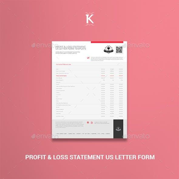 Profit & Loss Statement US Letter Form