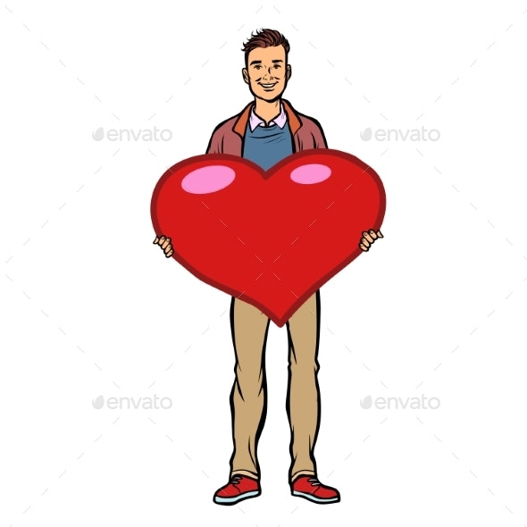 Young Man with Valentine Heart - People Characters