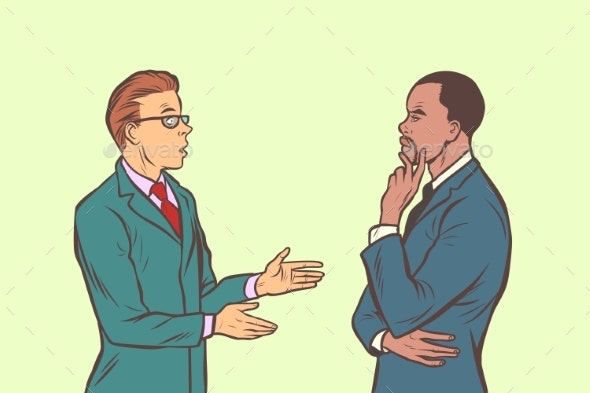 Two Businessmen Talking. Multi Ethnic Group - Business Conceptual