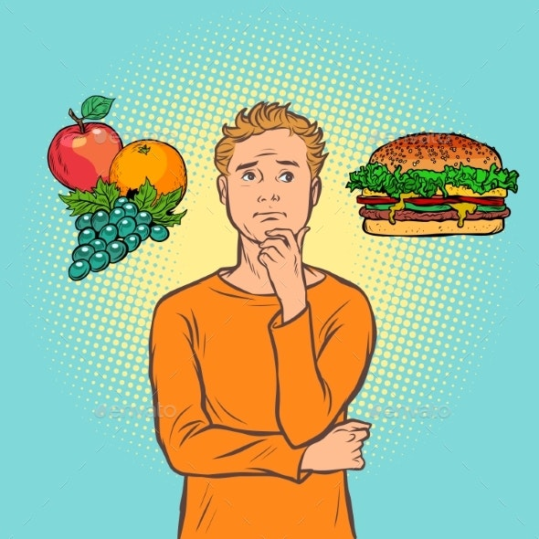 Man Choice Between Fast Food and Fruit - Food Objects