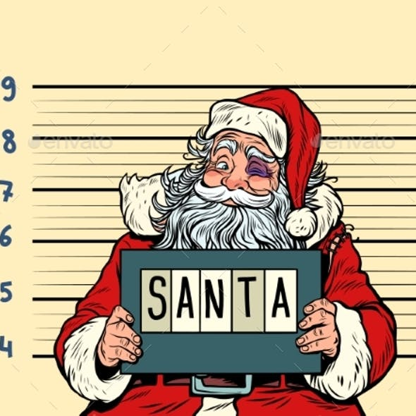 Bad Santa Claus. Arrested 2019 Happy New Year