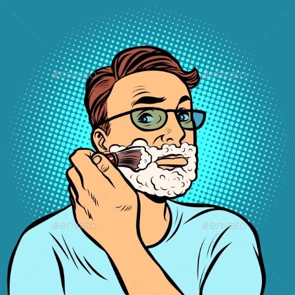 Man Shaving Brush, Hygiene - Man-made Objects Objects