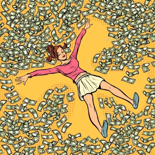 Young Girl Makes Snow Angel Money Dollars a Lot - Business Conceptual