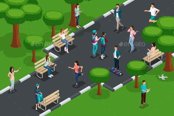 Isometric Teenager Characters - Sports/Activity Conceptual