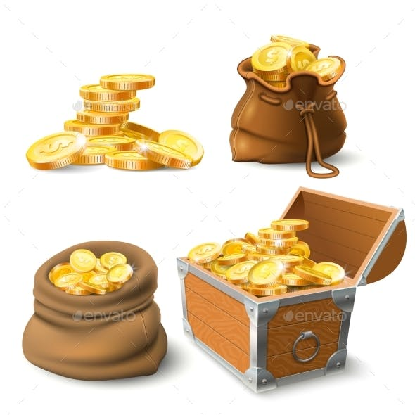Golden Coins Stacks. Coin in Old Sack, Large Gold