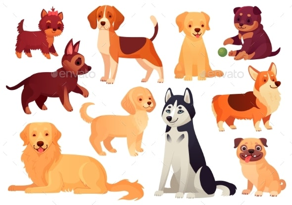 Cartoon Puppy and Dog. Happy Puppies with Smiling - Animals Characters