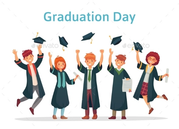 Graduate Students. Graduation Day of University - Miscellaneous Vectors