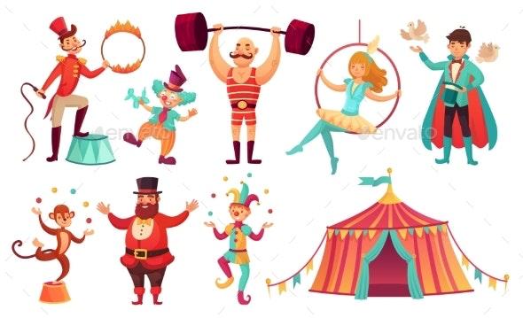 Circus Characters. Juggling Animals, Juggler - People Characters