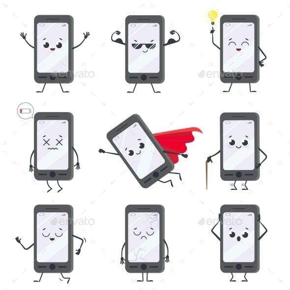 Cartoon Smartphone Character. Mobile Phone Mascot