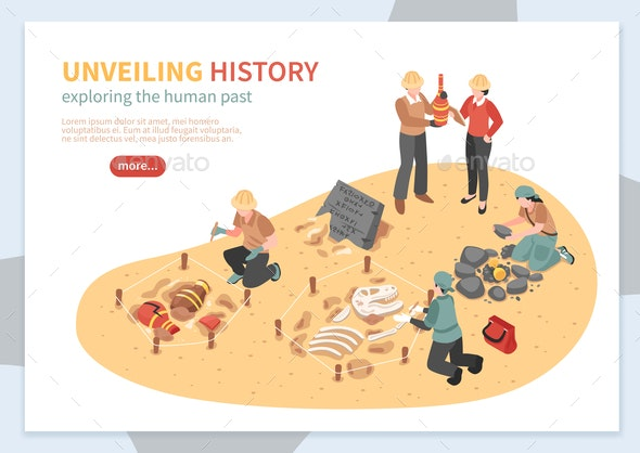 Archaeological Exploration Isometric Concept Banner - Industries Business