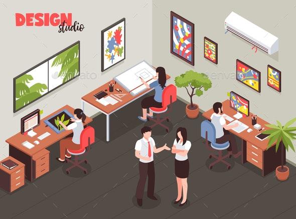 Design Studio Isometric Illustration - Computers Technology