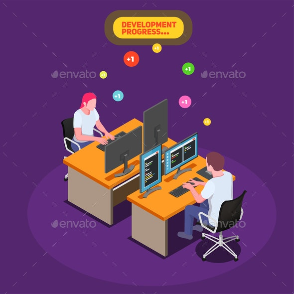 Game Development Isometric Background - Industries Business