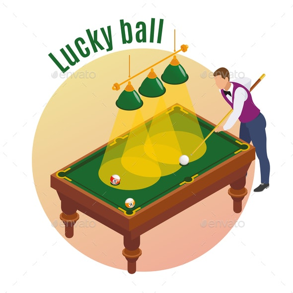 Lucky Ball Isometric Background - Sports/Activity Conceptual