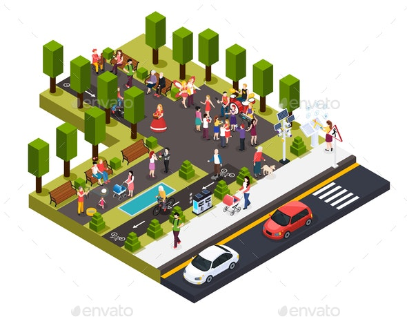 Street Artists Park Isometric Composition - Miscellaneous Vectors