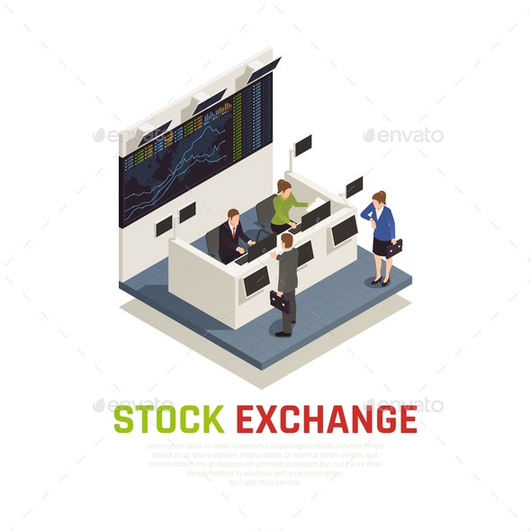 Investing Funds Stocks Isometric Composition - Concepts Business