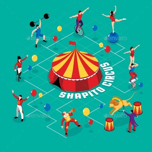 Circus Professions Isometric Flowchart - Sports/Activity Conceptual