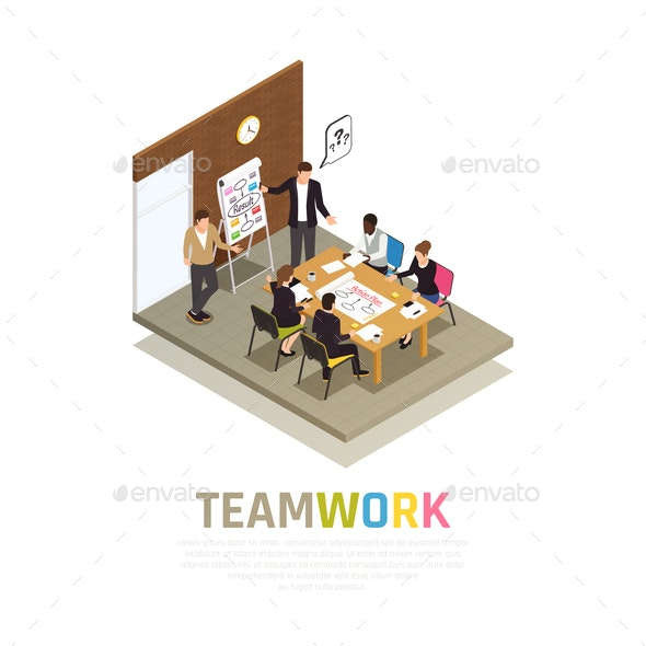 Teamwork Collaboration Isometric Composition - Concepts Business