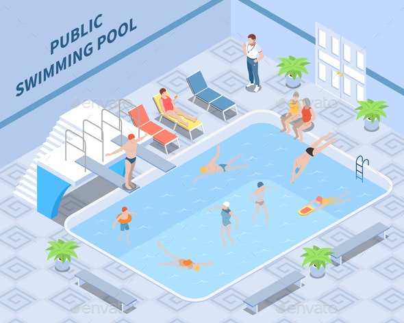 Public Swimming Pool Isometric Composition - People Characters