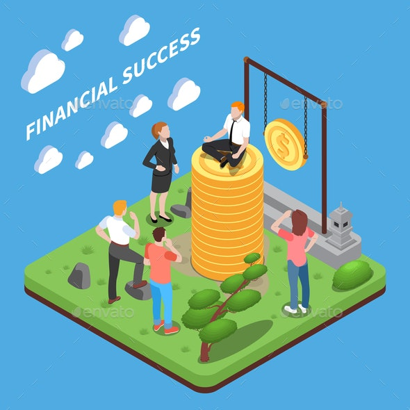 Financial Succes Isometric Composition - People Characters