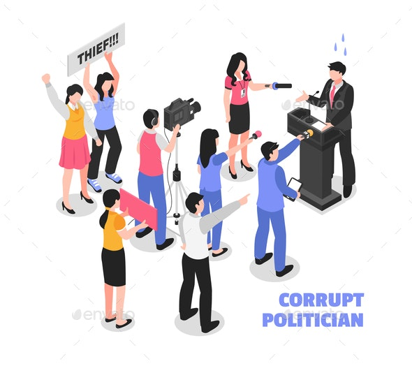 Corrupt Politician White Background - People Characters