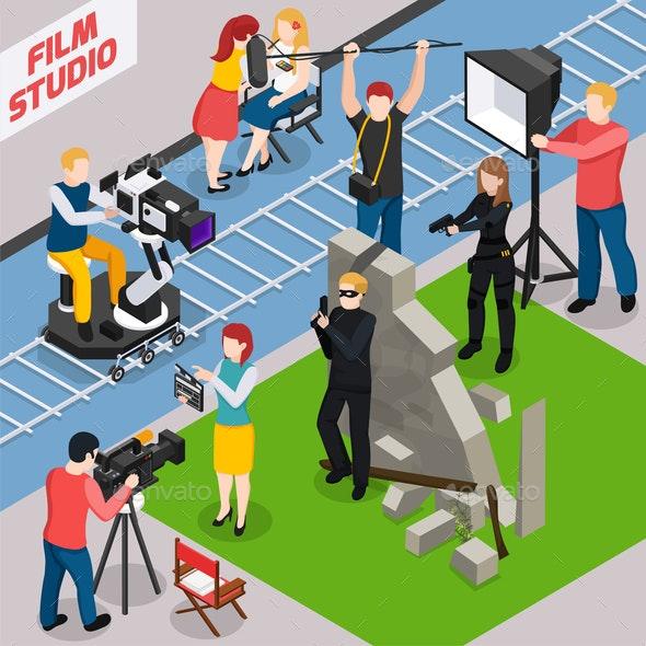 Film Studio Isometric Composition - People Characters