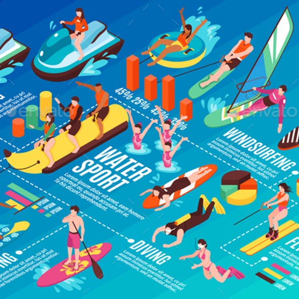 Water Sport Isometric Infographics
