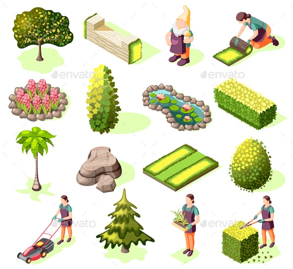 Landscaping Isometric Icons - Miscellaneous Vectors