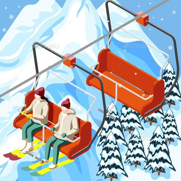 Ski Resort Funicular Isometric Background - Sports/Activity Conceptual