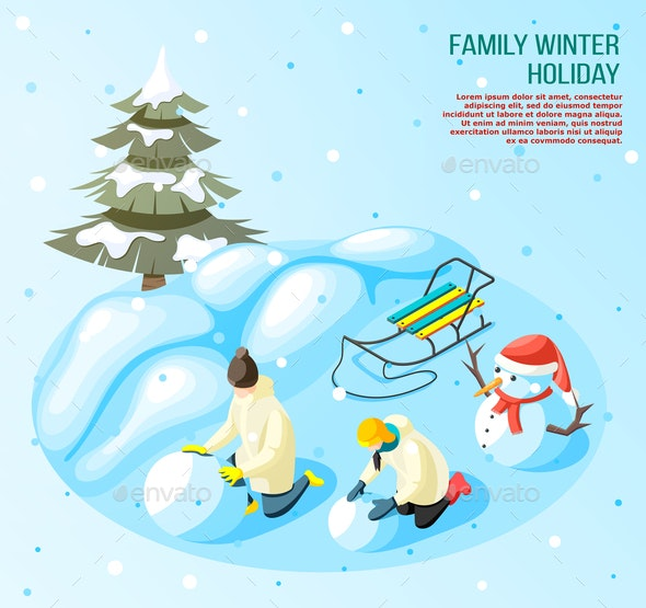 Winter Holidays Game Outdoors Composition - People Characters