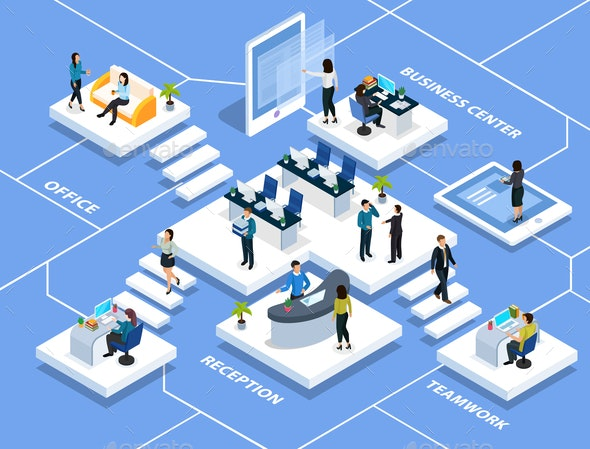 Office People Isometric Composition - Concepts Business