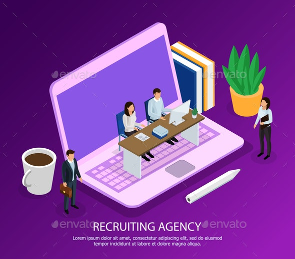 Recruiting Agency Isometric Composition - Concepts Business