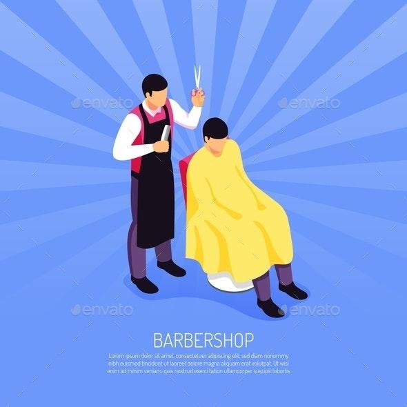 Barber Isometric Illustration - Industries Business