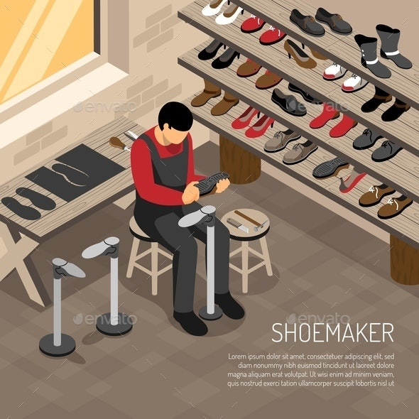 Shoe Maker Isometric Illustration - People Characters