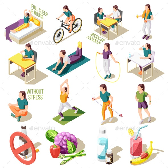 Healthy Life Style Isometric Icons - Sports/Activity Conceptual