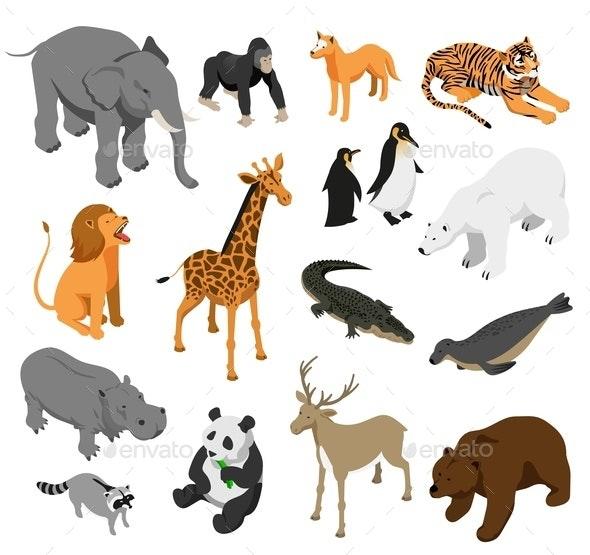 Zoo Animals Isometric Set - Animals Characters
