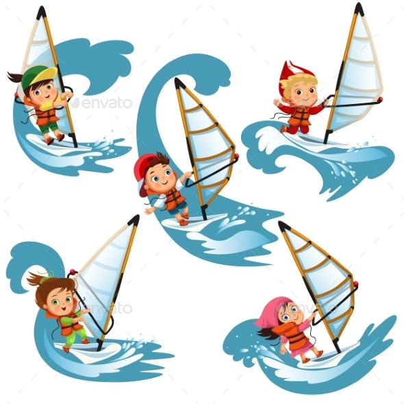 Set of Cartoon Children Sailing - Sports/Activity Conceptual