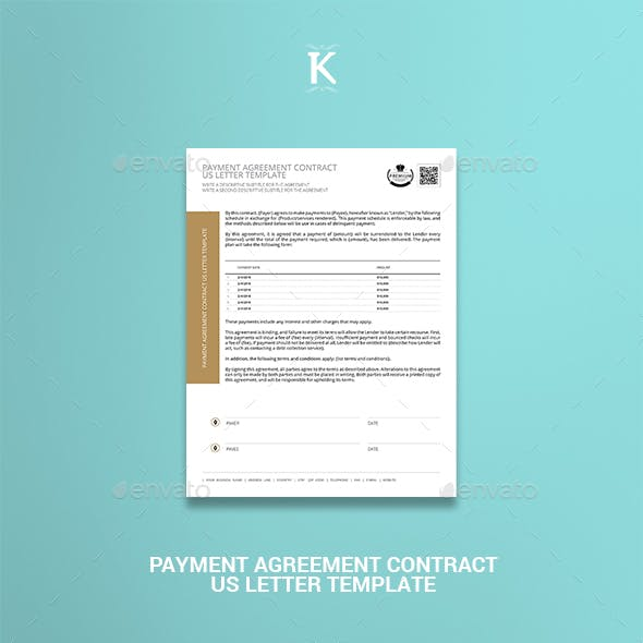 Payment Agreement Contract US Letter Template