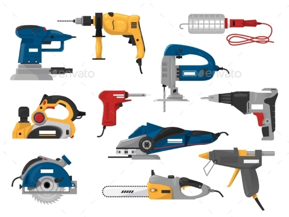 Power Tools Vector Electric Construction Equipment