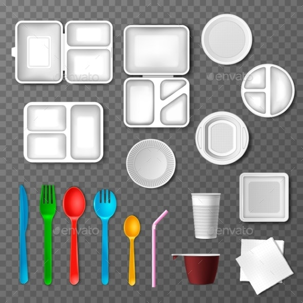 Plastic Tableware Vector Picnic Disposable Cutlery - Man-made Objects Objects