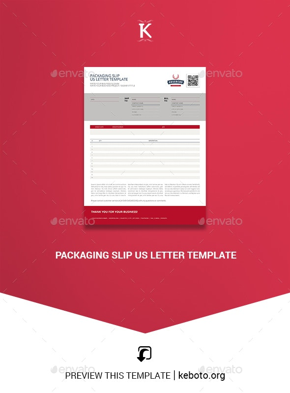 Packaging Slip US Letter Template - Miscellaneous Print Templates