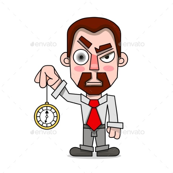 Hypnotist with a Clock in a Shirt and Tie Vector - Miscellaneous Vectors