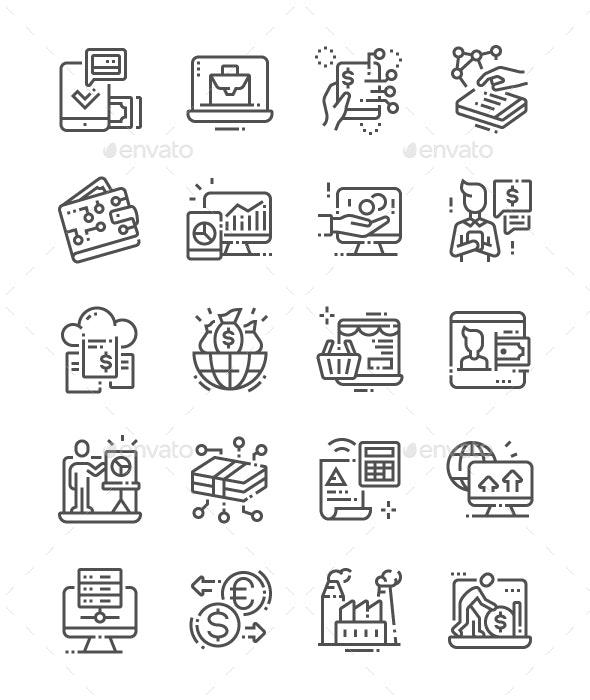 Digital Economy Line Icons - Business Icons