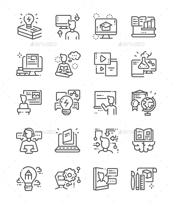 Learning Line Icons - Miscellaneous Characters